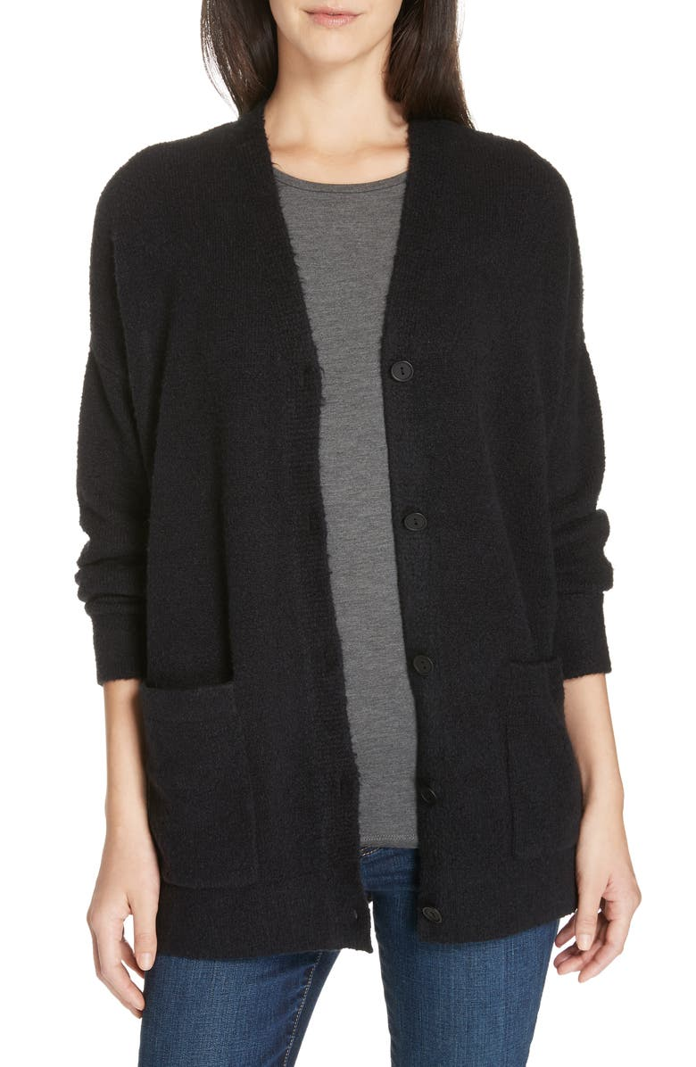 EILEEN FISHER Organic Cotton Blend Boyfriend Cardigan, Main, color, 001