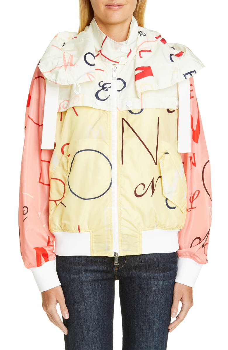 MONCLER Genius by Moncler Lusaka Letter Print Bomber Jacket, Main, color, 700