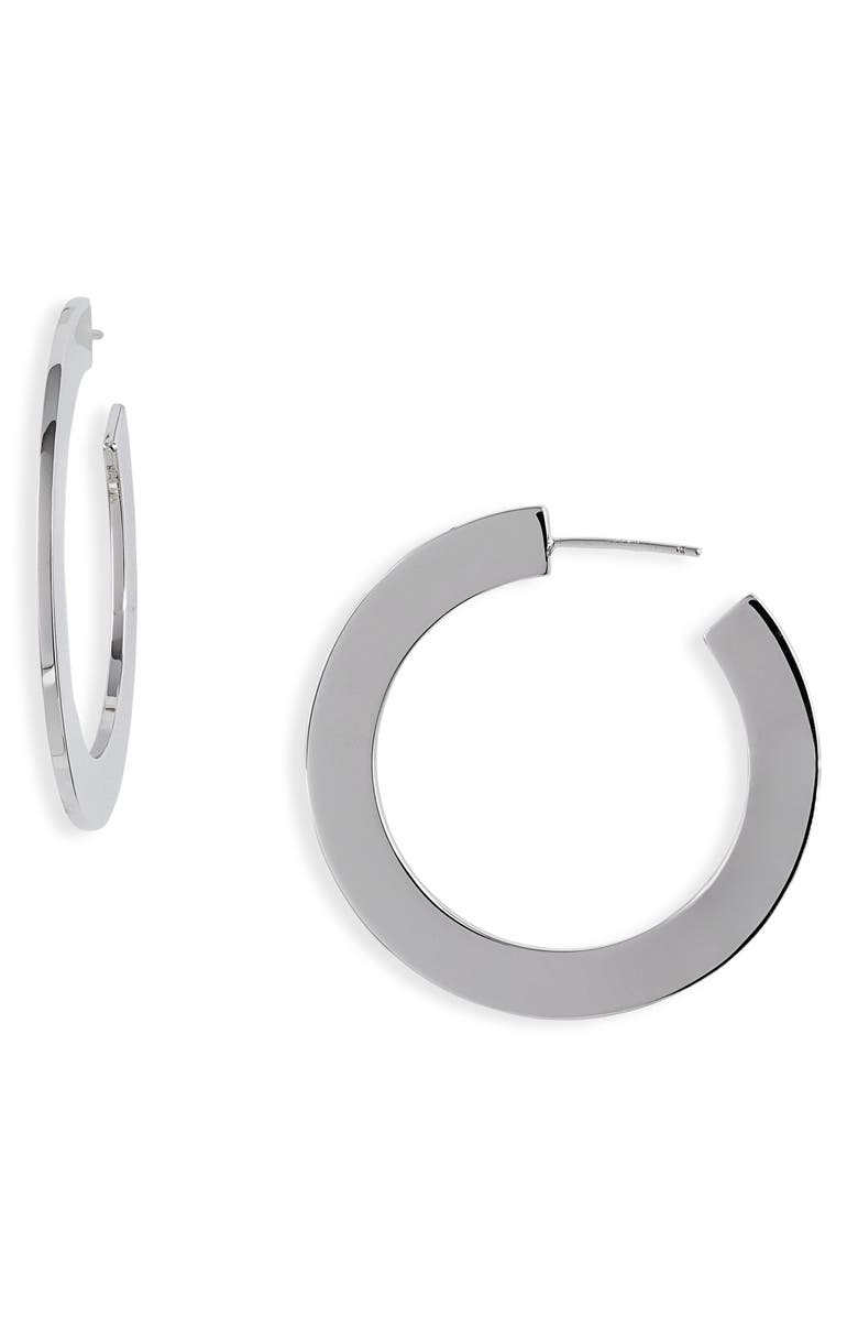 MELANIE AULD Flat Hoop Earrings, Main, color, SILVER