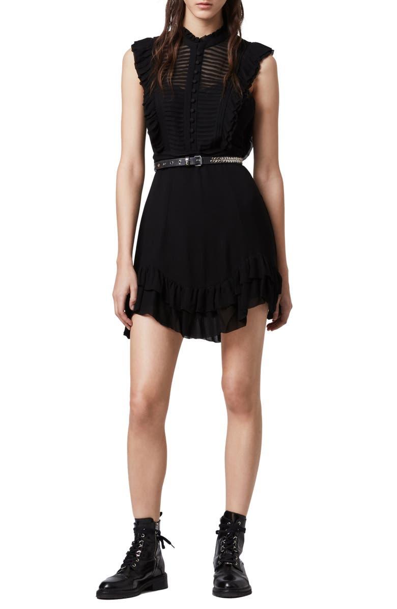 ALLSAINTS Lola Pintuck Chiffon Minidress, Main, color, 001