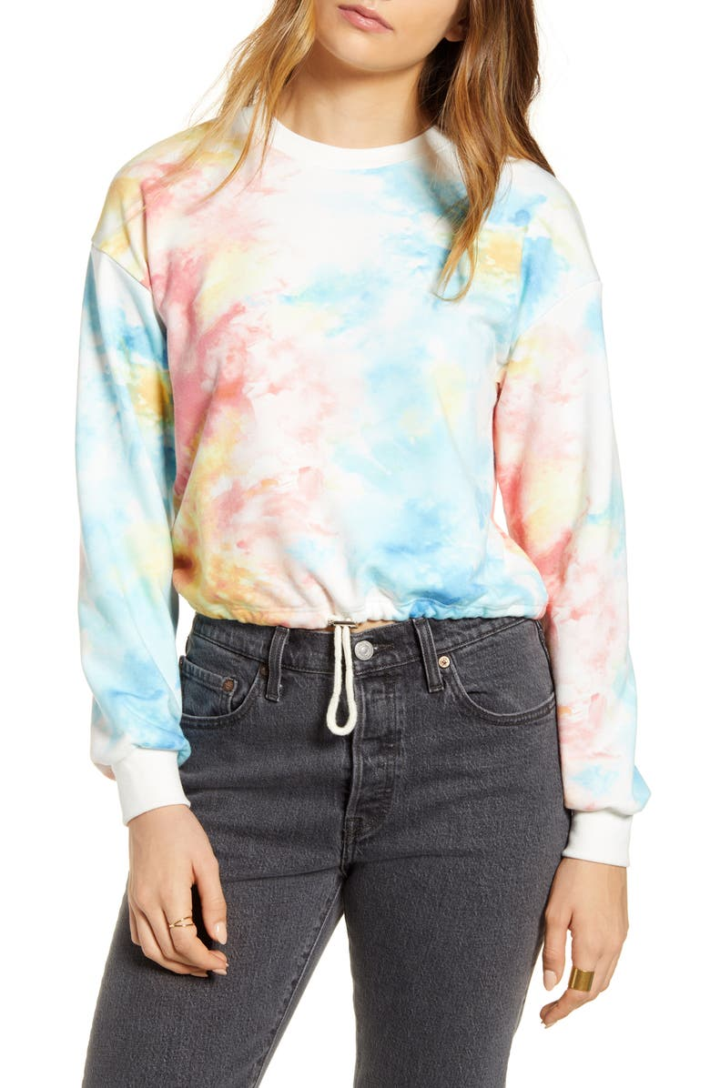 KIRIOUS Tie Dye Cinch Crop Sweatshirt, Main, color, TIE DYE