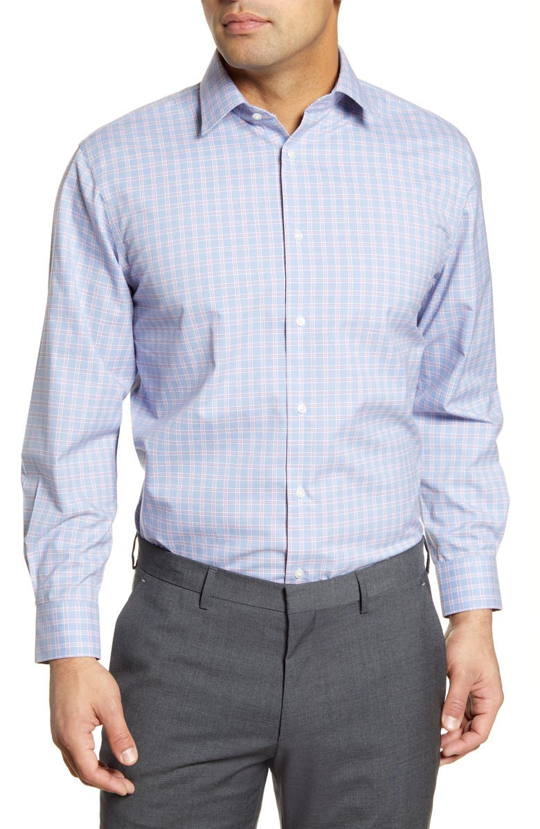 NORDSTROM MEN'S SHOP Traditional Fit Non-Iron Check Dress Shirt, Main, color, BLUE- RED SUN