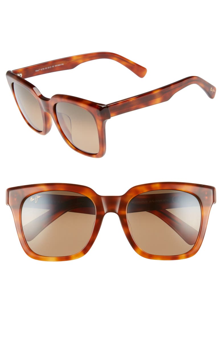 MAUI JIM Heliconia 53mm PolarizedPlus2<sup>®</sup> Square Sunglasses, Main, color, KOA TORTOISE/ BRONZE