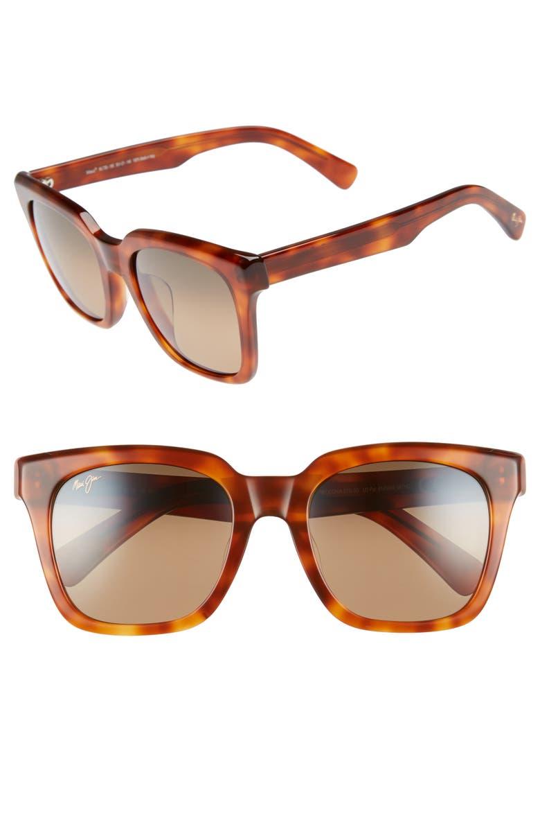 MAUI JIM Heliconia 53mm PolarizedPlus2<sup>®</sup> Square Sunglasses, Main, color, KOA TORTOISE/ BRONZE