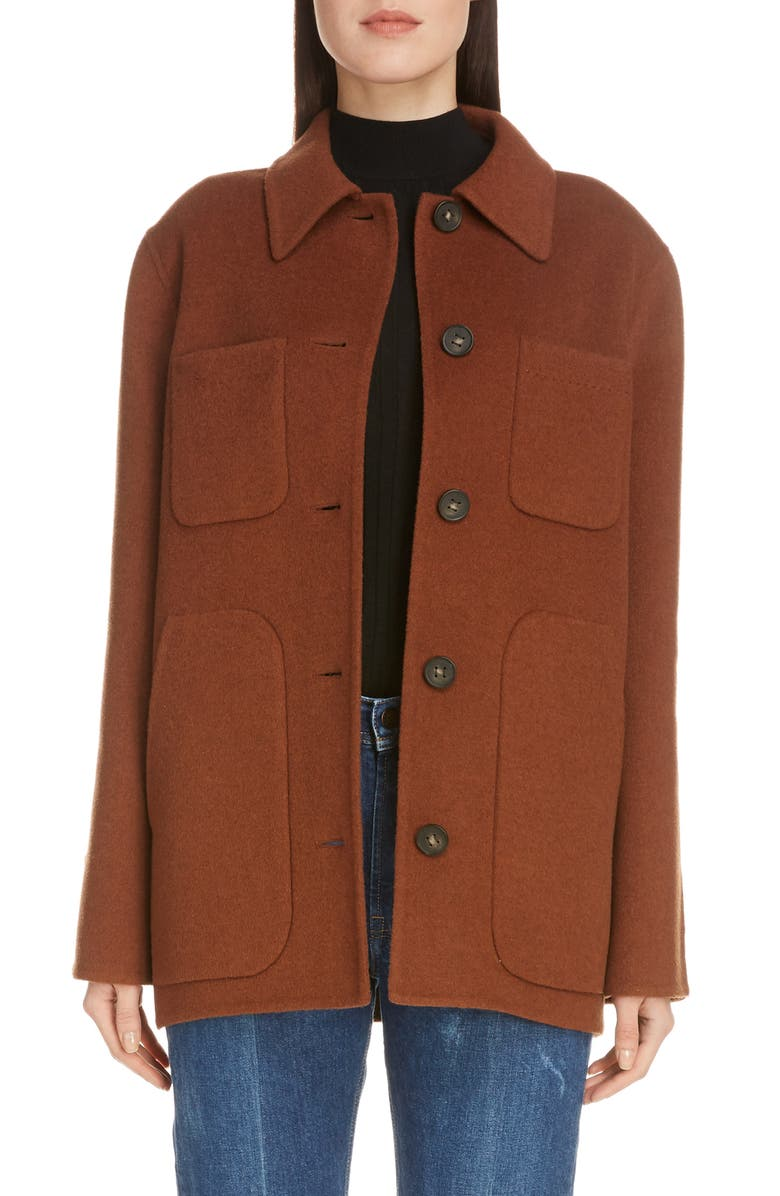 ACNE STUDIOS Okera Double Face Wool & Cashmere Coat, Main, color, RUSTY BROWN