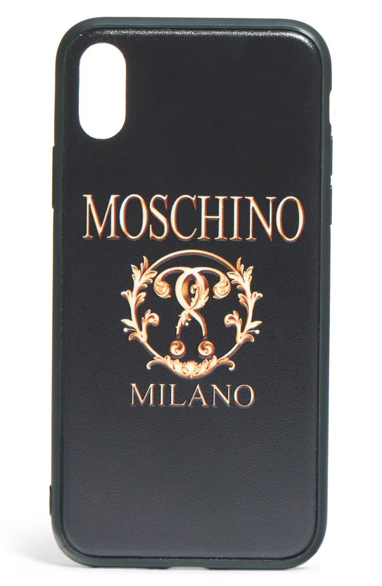 MOSCHINO Logo iPhone X/Xs Case, Main, color, FANTASY PRINT BLACK