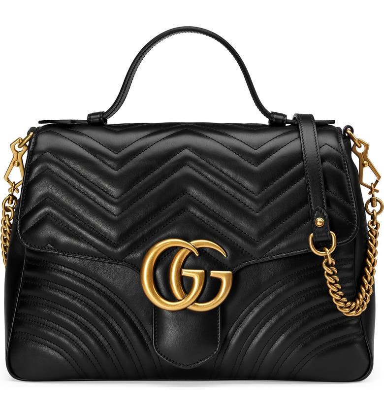 GUCCI Medium GG Marmont 2.0 Matelassé Leather Top Handle Bag, Main, color, 005