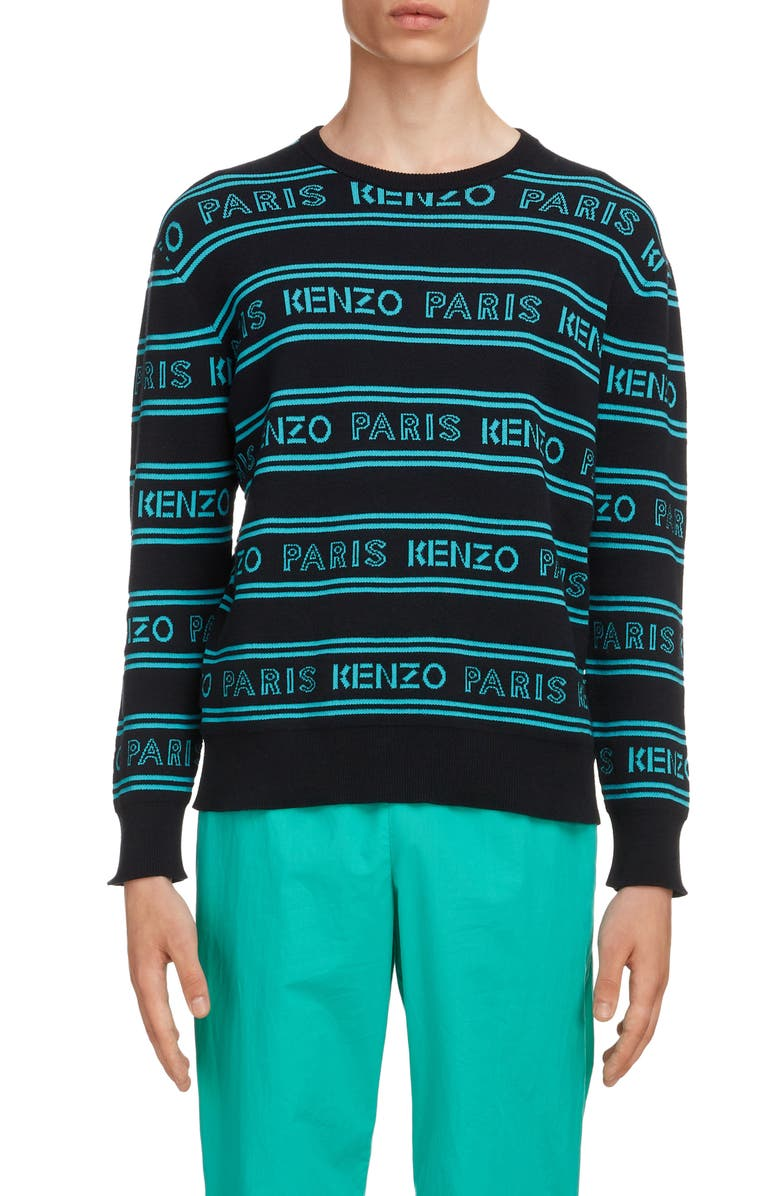 KENZO Logo Intarsia Crewneck Sweater, Main, color, BLACK