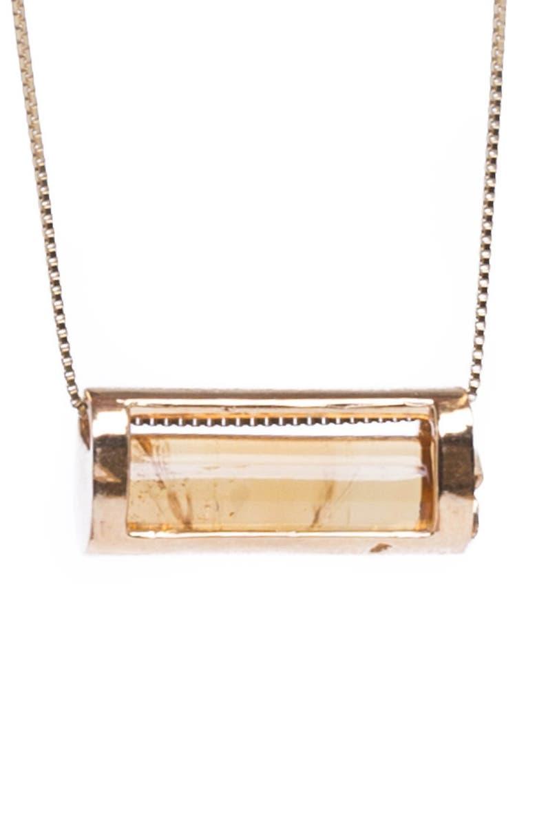 CONGÉS Success & Comfort Citrine Barrel Pendant Necklace, Main, color, YELLOW GOLD