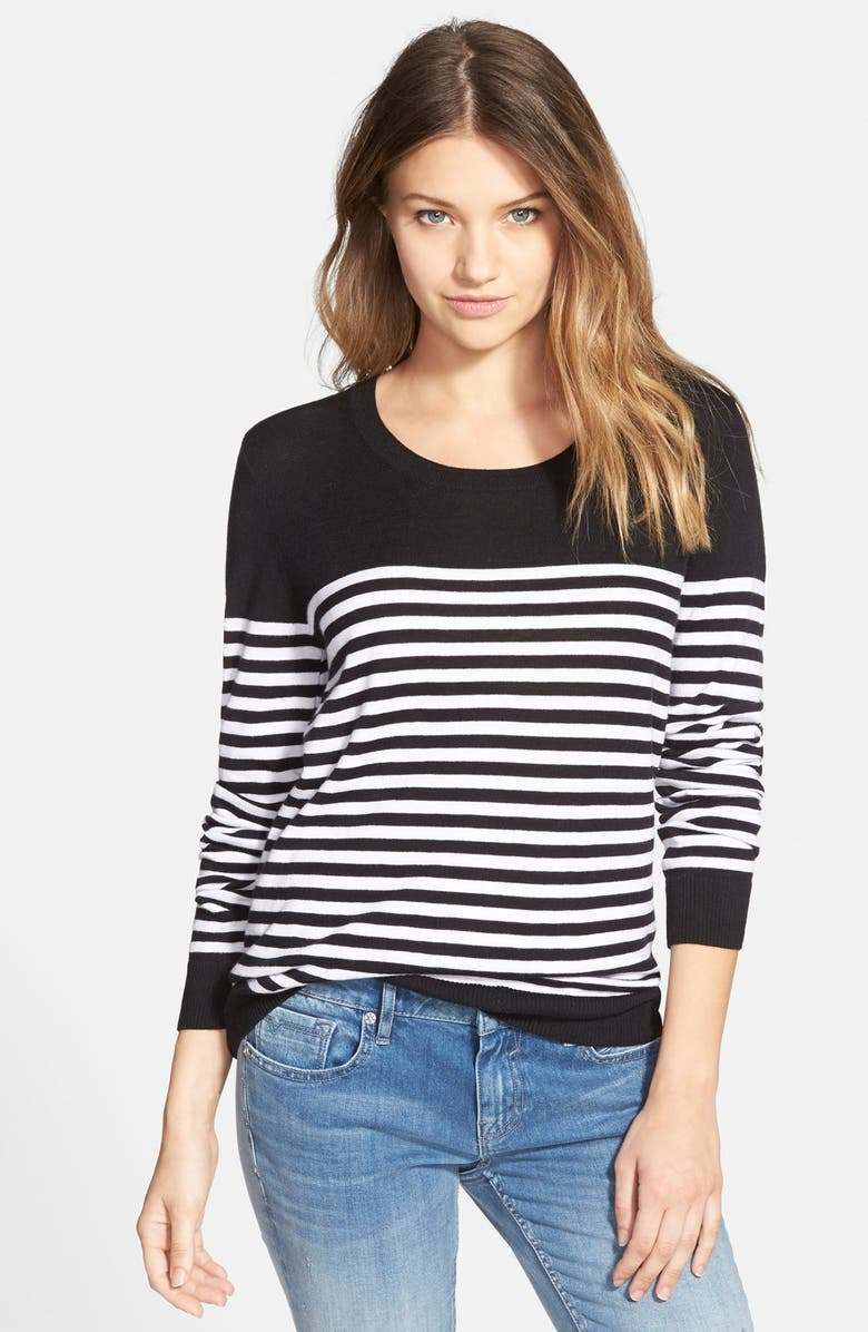 BP. Stripe Crewneck Pullover, Main, color, 001