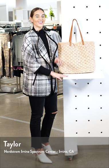 Barnet Metallic Straw Packable Woven Tote, sales video thumbnail