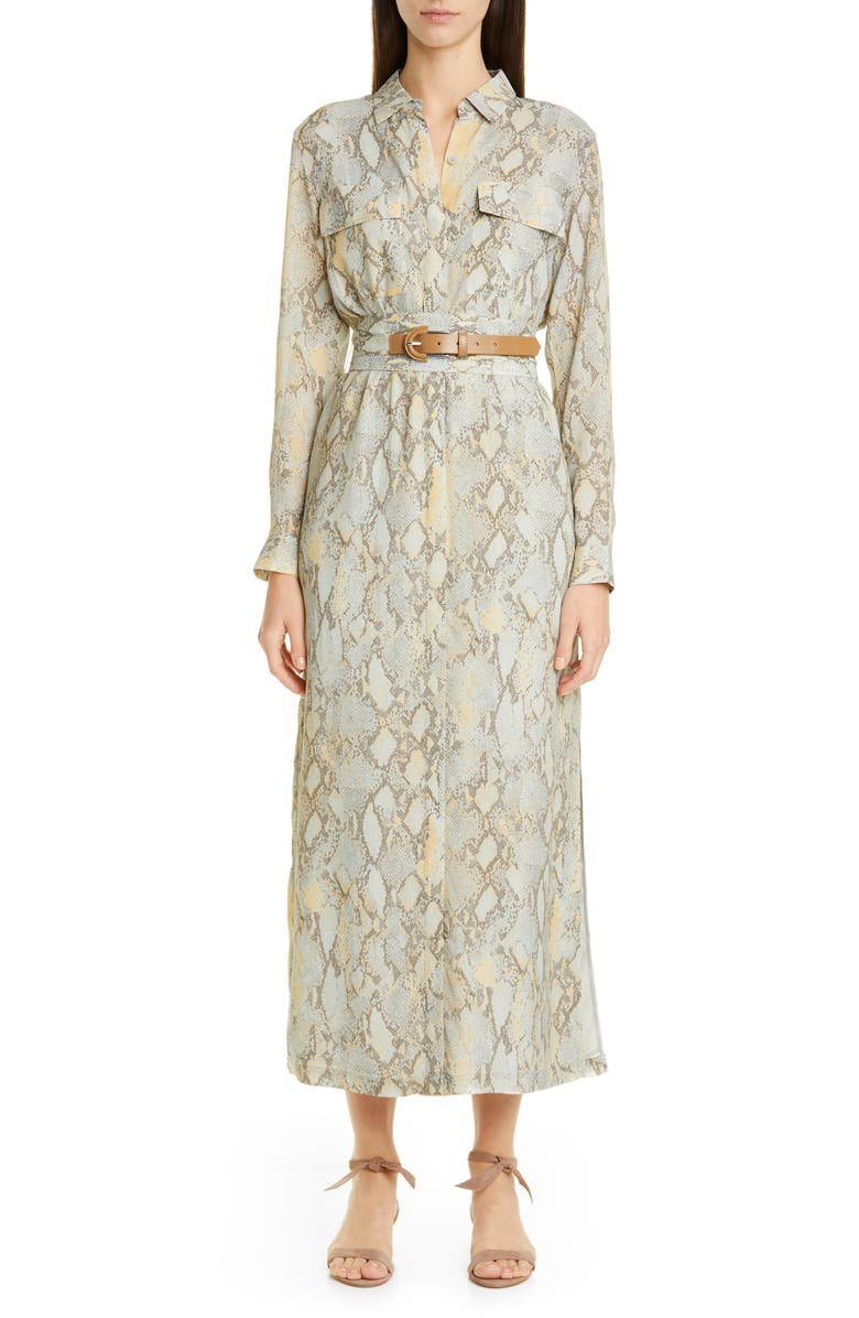 LAFAYETTE 148 NEW YORK Doha Belted Maxi Shirtdress, Main, color, SILVER SAGE MULTI