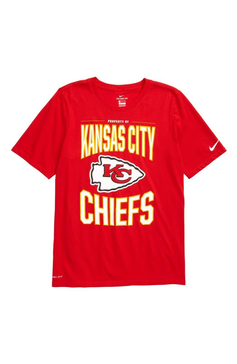 NIKE NFL Logo Property of Kansas City Chiefs Dri-FIT T-Shirt, Main, color, UNIVERSITY RED