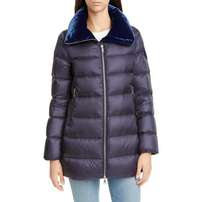 Moncler Torcon Velvet Collar Down Puffer Coat, (fits like 10-12 US) - Blue