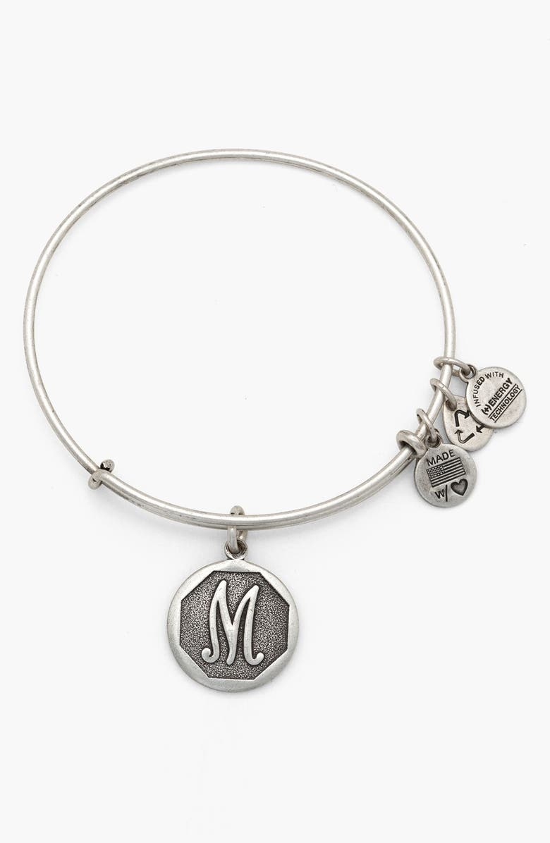 ALEX AND ANI 'Initial' Adjustable Wire Bangle, Main, color, 052