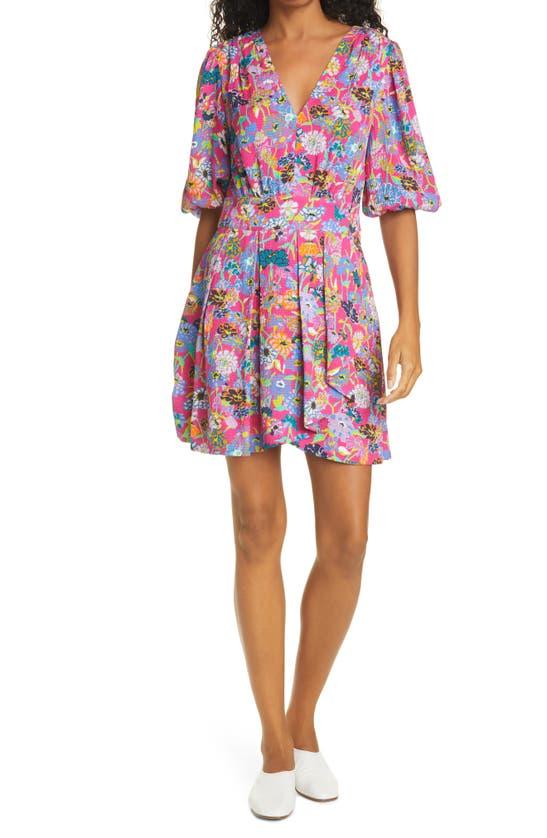 Tanya Taylor Nat Floral Puckered Silk Dress In Mixed Meadow Hot Pink