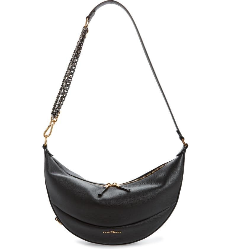 THE MARC JACOBS The Eclipse Leather Shoulder Bag, Main, color, BLACK