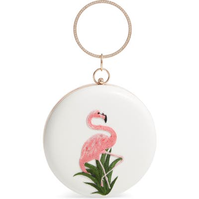 Knotty Flamingo Ring Top Handle Bag - White