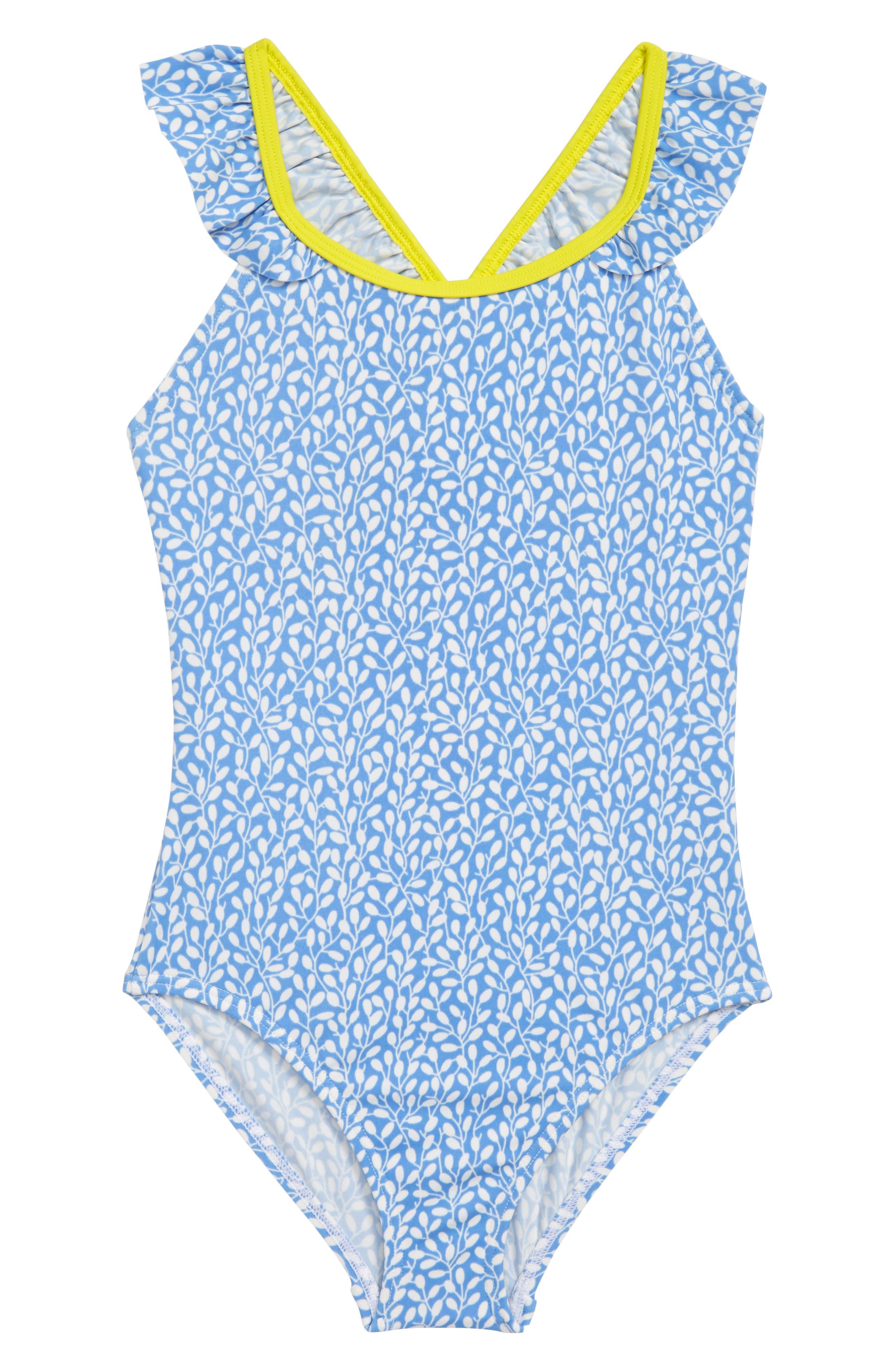 ,                             Flutter Back One-Piece Swimsuit,                             Main thumbnail 1, color,                             BLU LAKE BLUE BERRIES