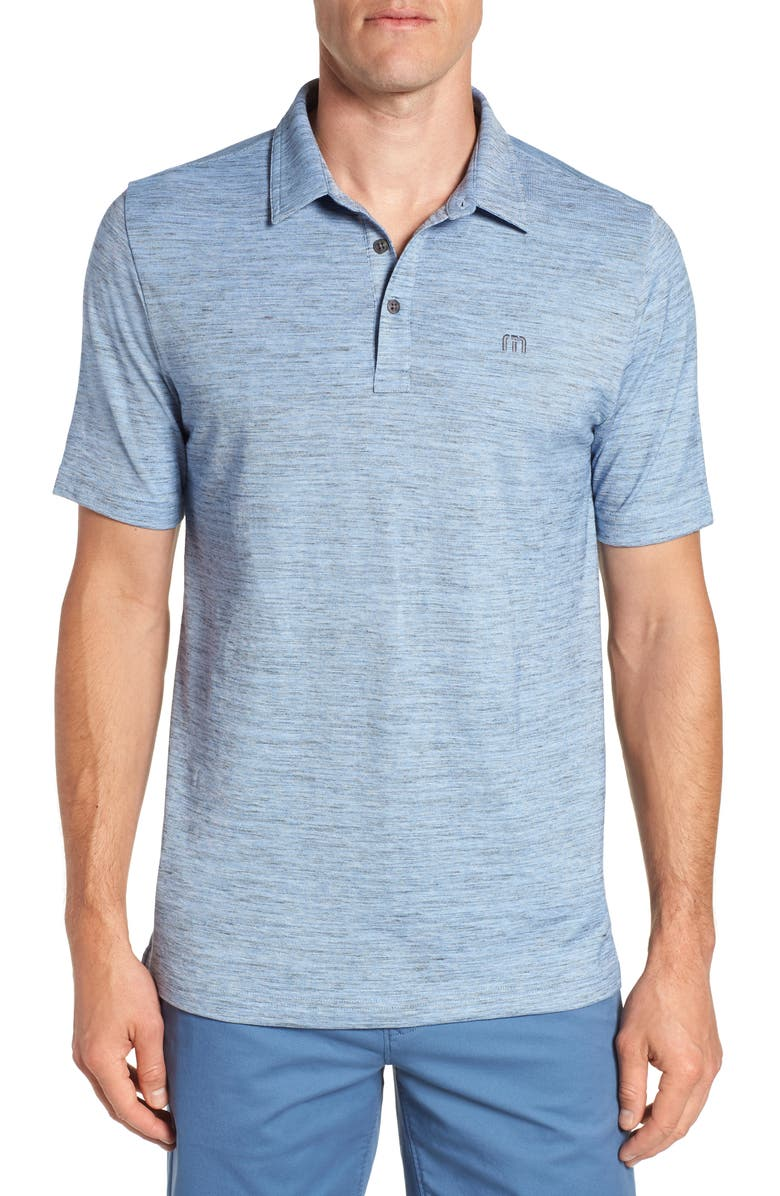 TRAVISMATHEW Flying Tortilla Regular Fit Performance Polo, Main, color, RIVIERA