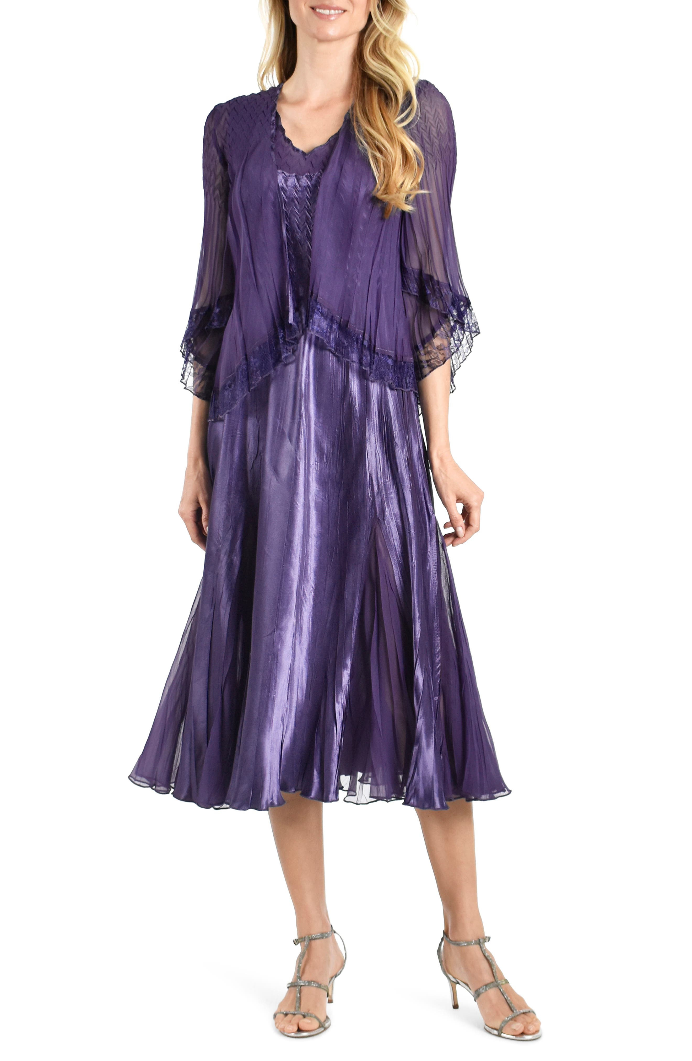 1920s Evening Dresses & Formal Gowns Womens Komarov Charmeuse  Chiffon Midi Dress With Jacket Size Medium - Purple $438.00 AT vintagedancer.com