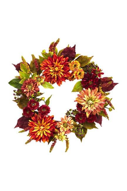 "Image of NEARLY NATURAL Orange 22"" Dahlia & Mum Wreath"