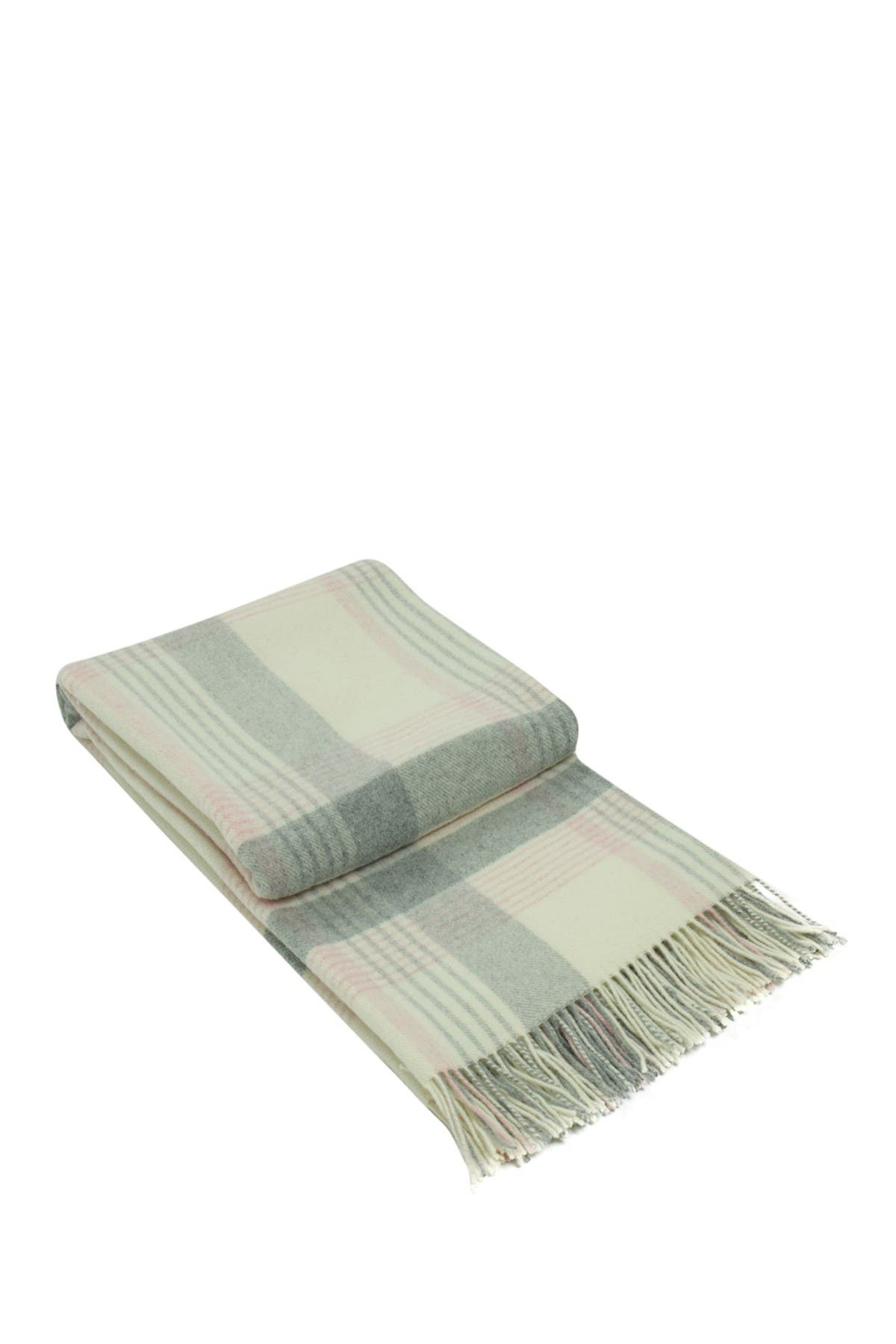 Image of Melange Home Italian Wool Blend Throw - Ivory/Pink