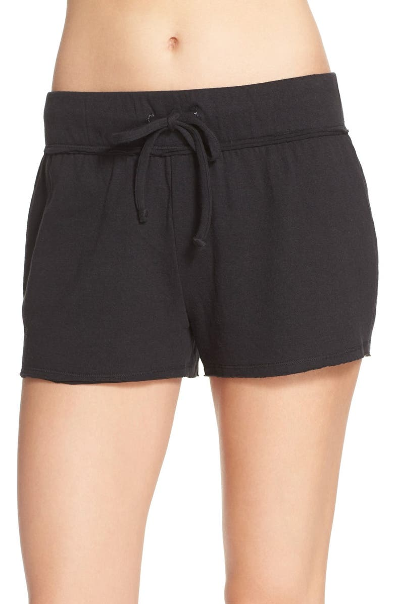 NORDSTROM LINGERIE 'Lazy Mornings' Cotton Knit Lounge Shorts, Main, color, 001