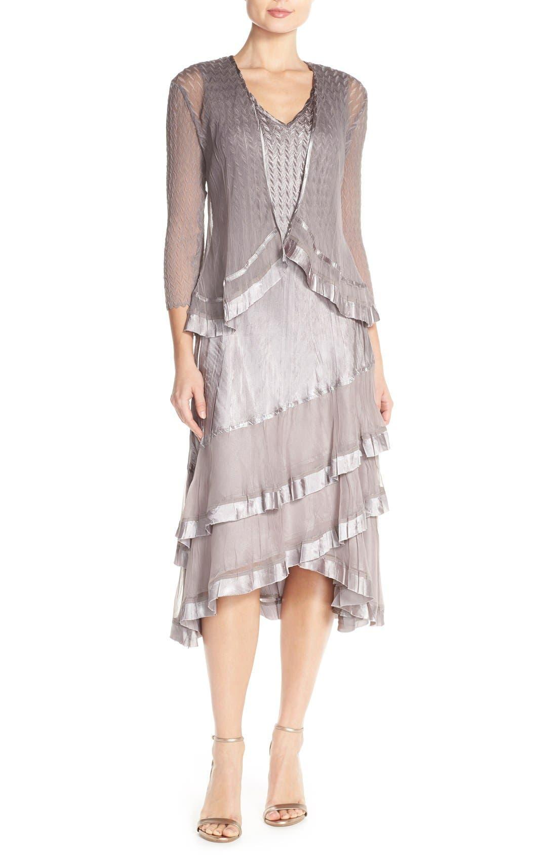 Vintage 1920s Dresses – Where to Buy Petite Womens Komarov Charmeuse A-Line Dress  Jacket Size Medium - Grey $438.00 AT vintagedancer.com
