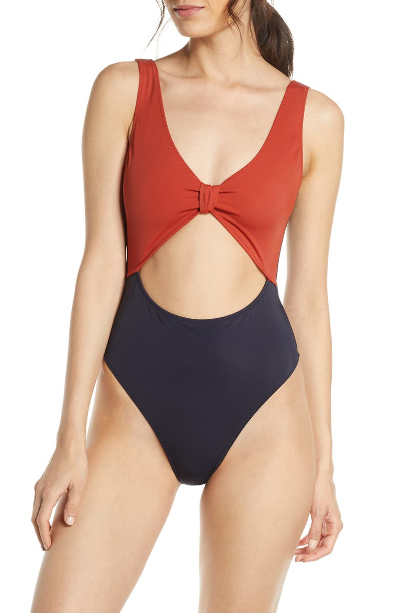 SOMETHING NAVY One-Piece Cutout Swimsuit, Main, color, RED OCHRE