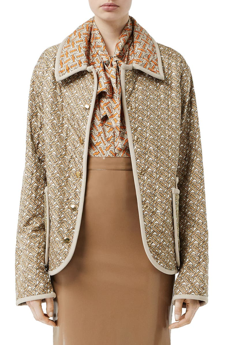 BURBERRY Monogram Logo Print Quilted Silk Jacket, Main, color, ARCHIVE BEIGE