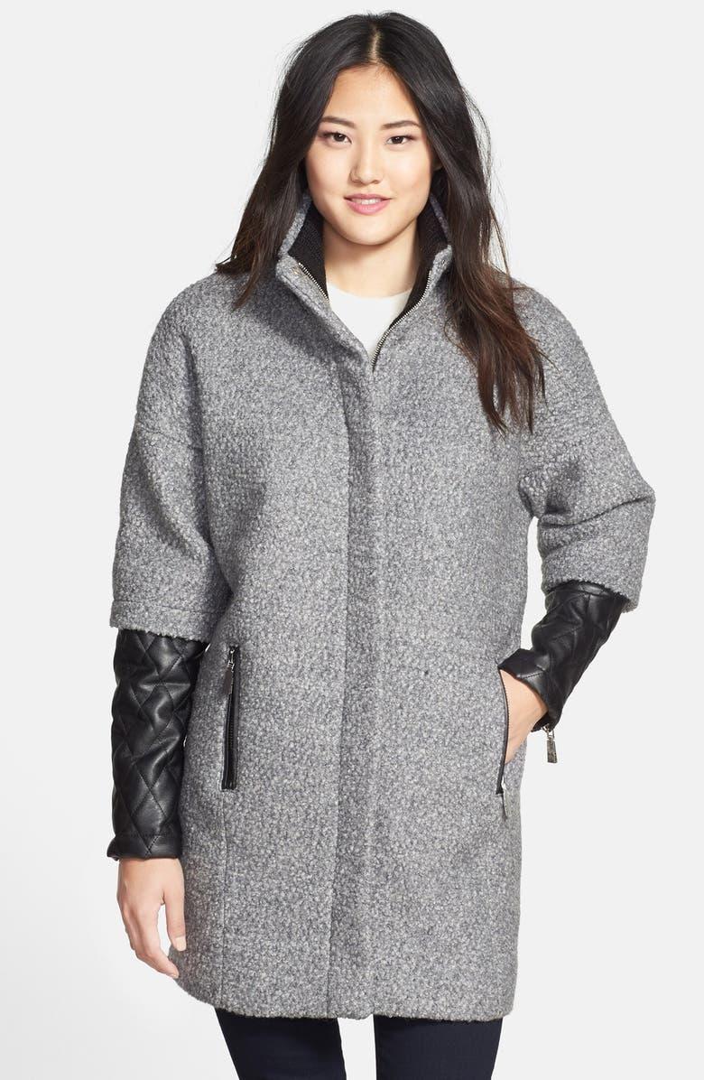 VINCE CAMUTO Bouclé & Faux Leather Coat, Main, color, 020