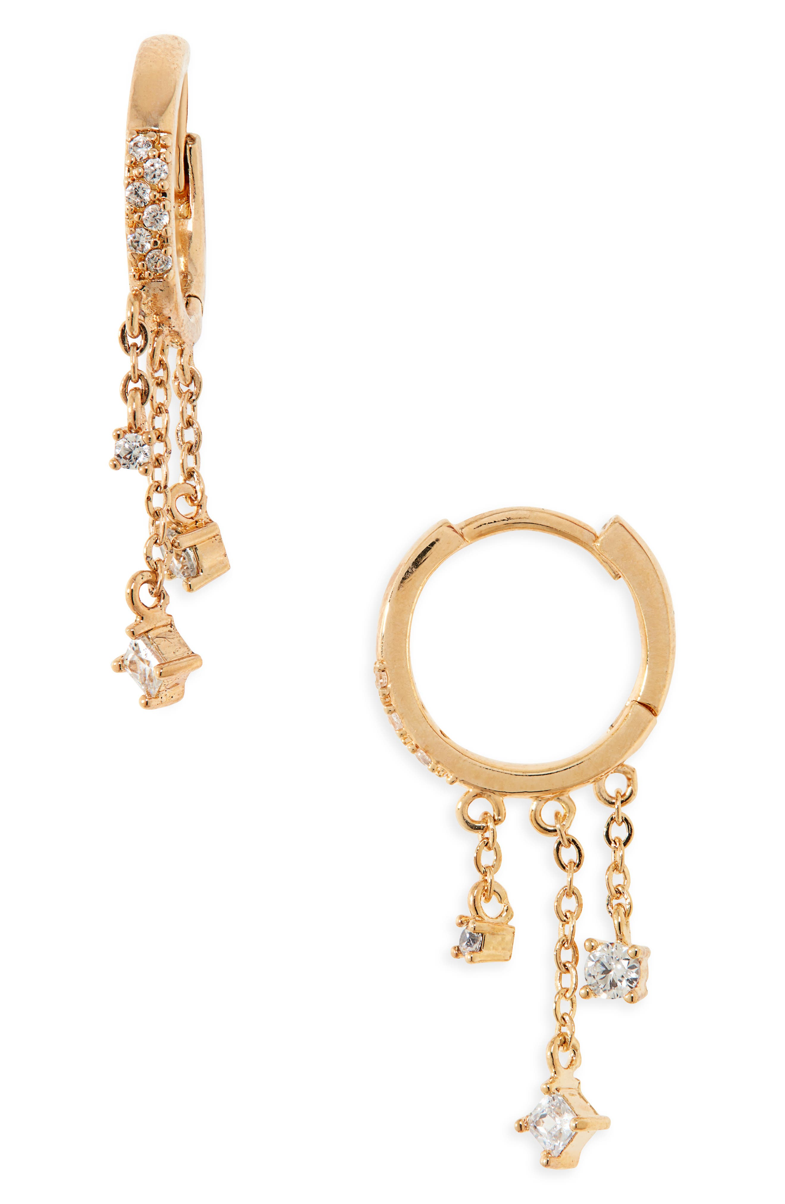Chain fringe tipped with dainty sparkling charms dangles beneath pave huggie hoops elegant enough for a night out yet simple enough for everyday wear. Style Name: Nordstrom Cubic Zirconia Fringe Huggie Hoop Earrings. Style Number: 6016823. Available in stores.