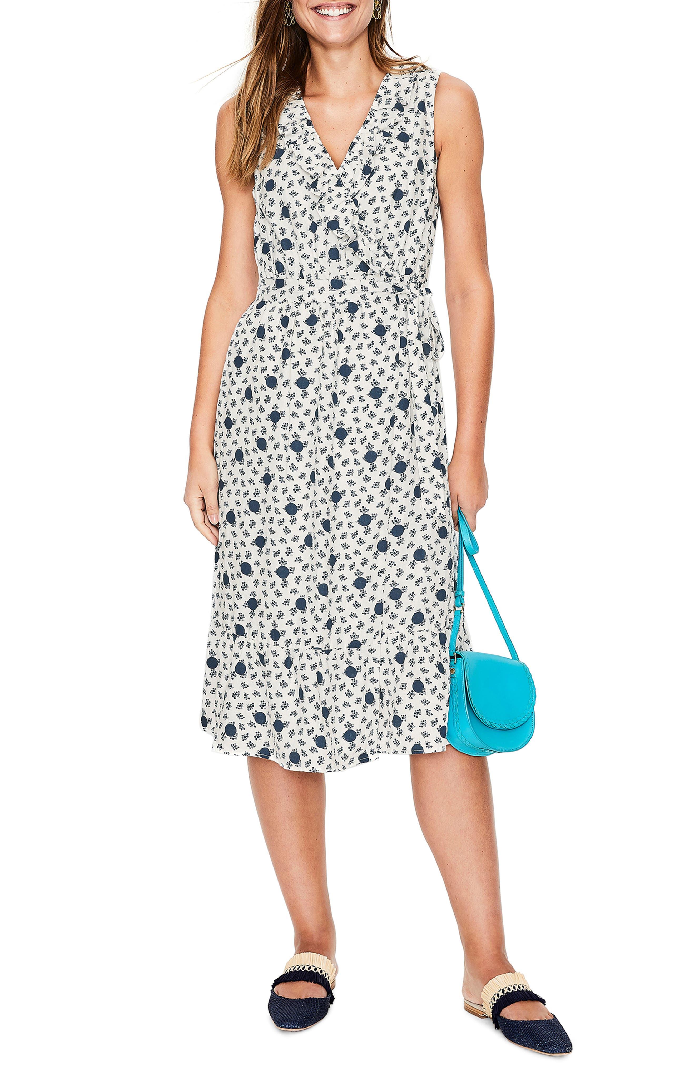 women's boden nancy linen midi dress, size 2 - ivory
