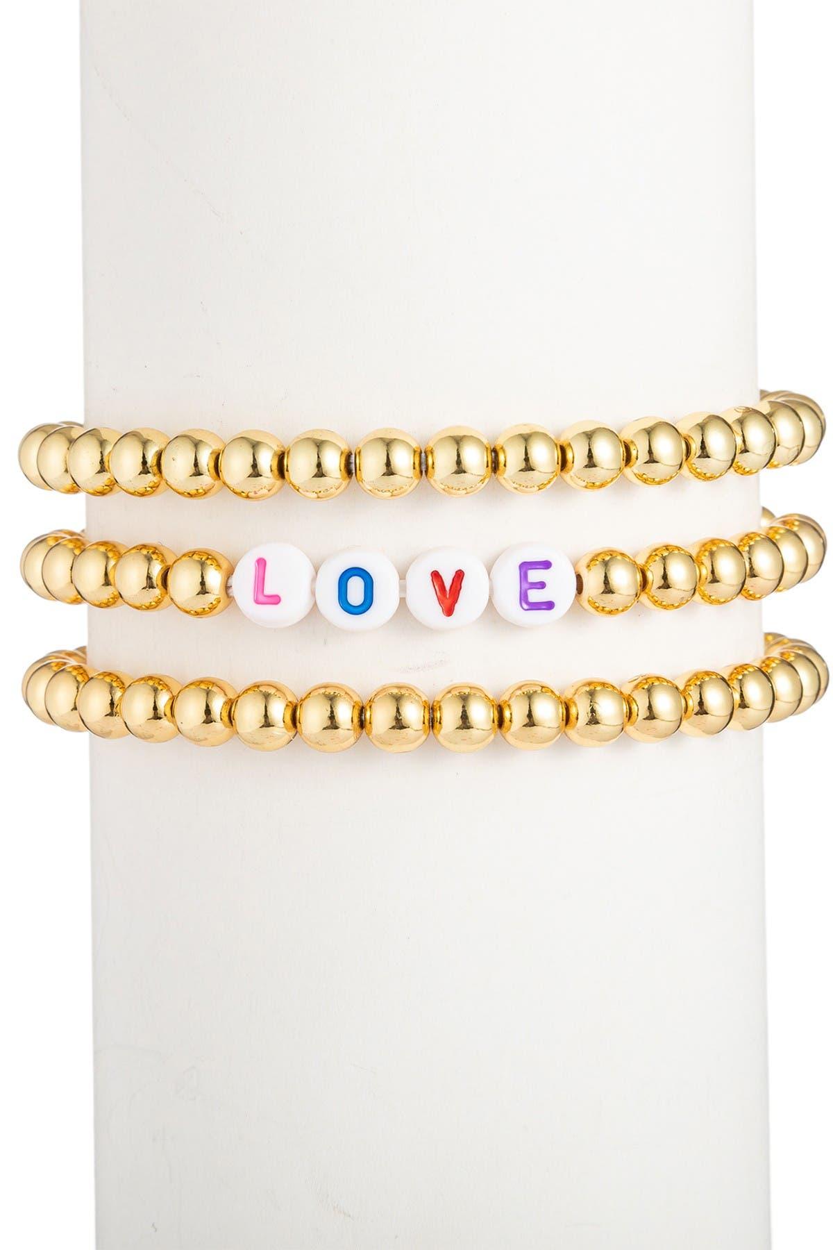 Image of Eye Candy Los Angeles Love Titanium Beaded Bracelet Set