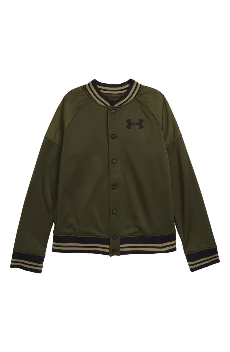 UNDER ARMOUR Fleece Bomber Jacket, Main, color, GUARDIAN GREEN/ BLACK