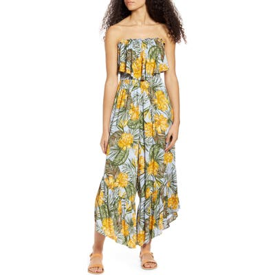 All In Favor Ruffle Detail Strapless Jumpsuit, Yellow
