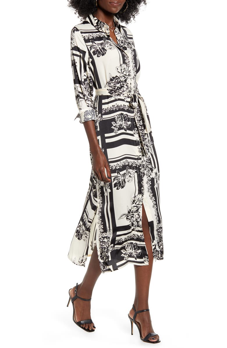VERO MODA Mimi Floral & Geo Print Long Sleeve Shirtdress, Main, color, 250
