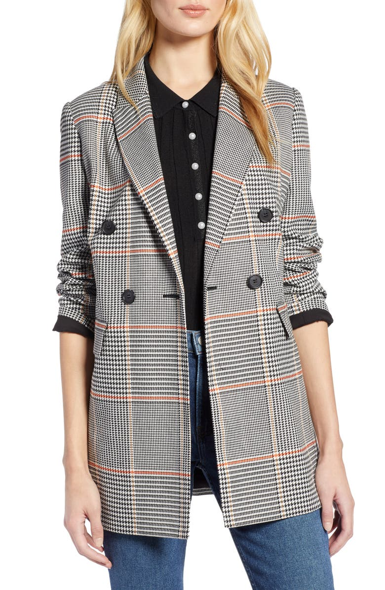 HALOGEN<SUP>®</SUP> x Atlantic-Pacific Menswear Plaid Blazer, Main, color, BLACK PLAID