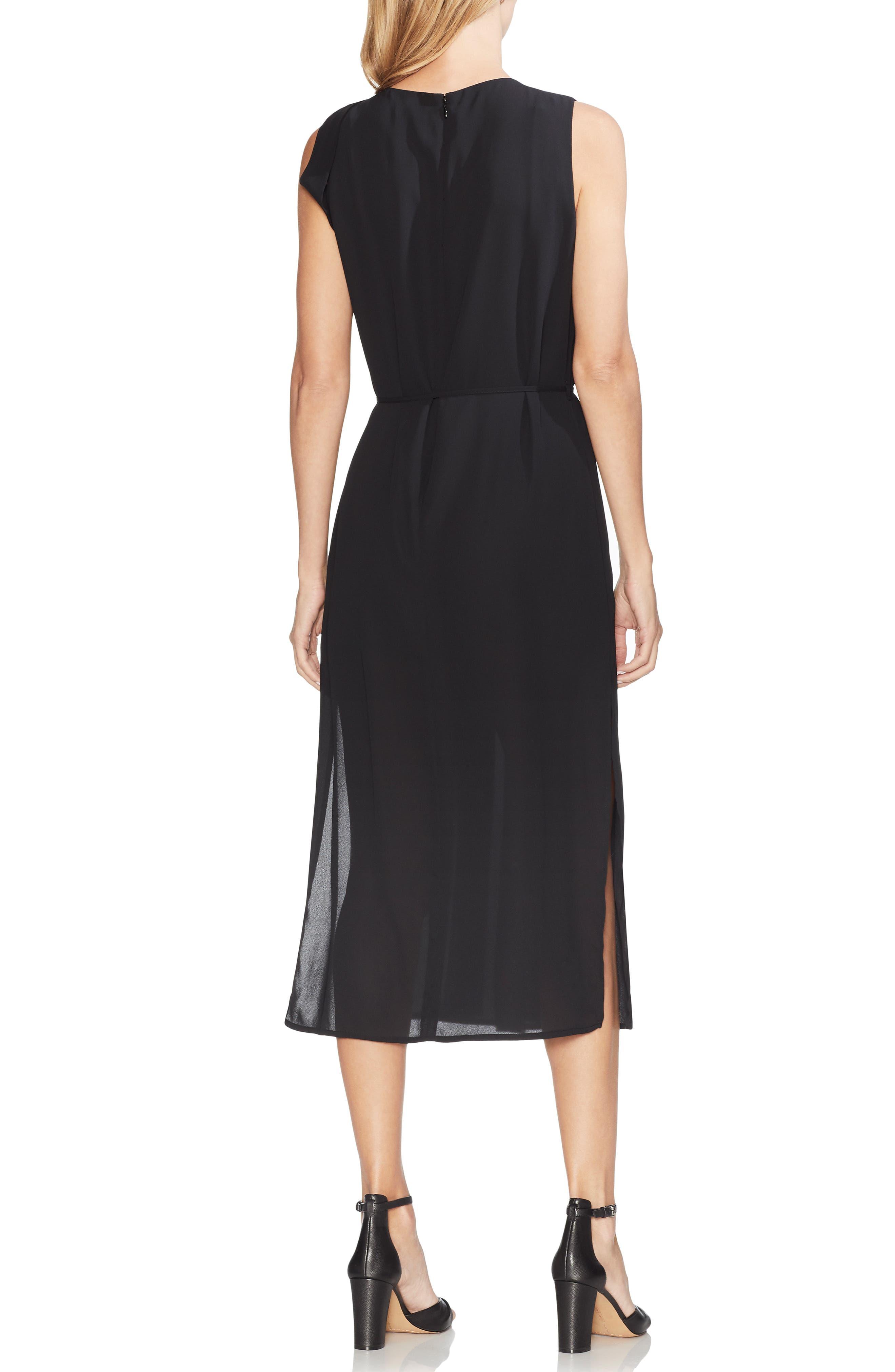 ,                             Pleated Overlay Sleeveless Dress,                             Alternate thumbnail 2, color,                             RICH BLACK