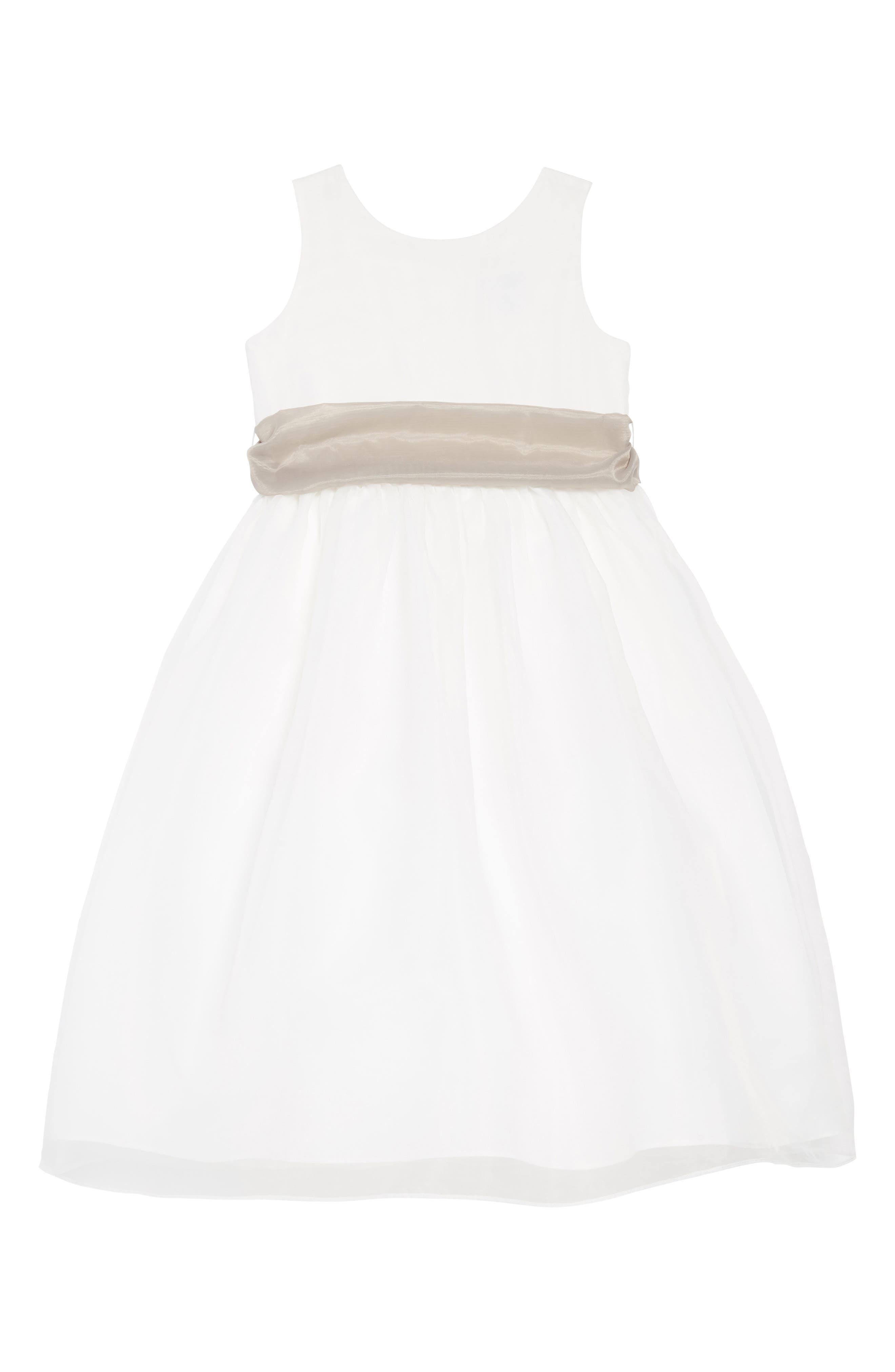 ,                             Sleeveless Organza Dress,                             Main thumbnail 1, color,                             Ivory/ pewter