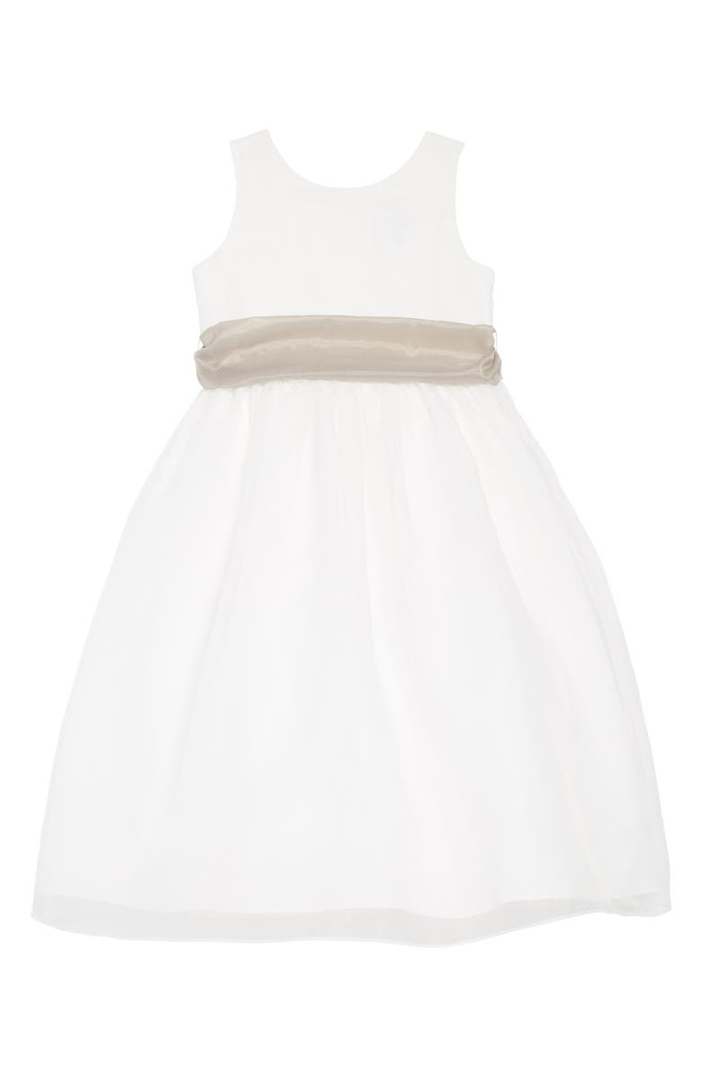 US ANGELS Sleeveless Organza Dress, Main, color, Ivory/ pewter