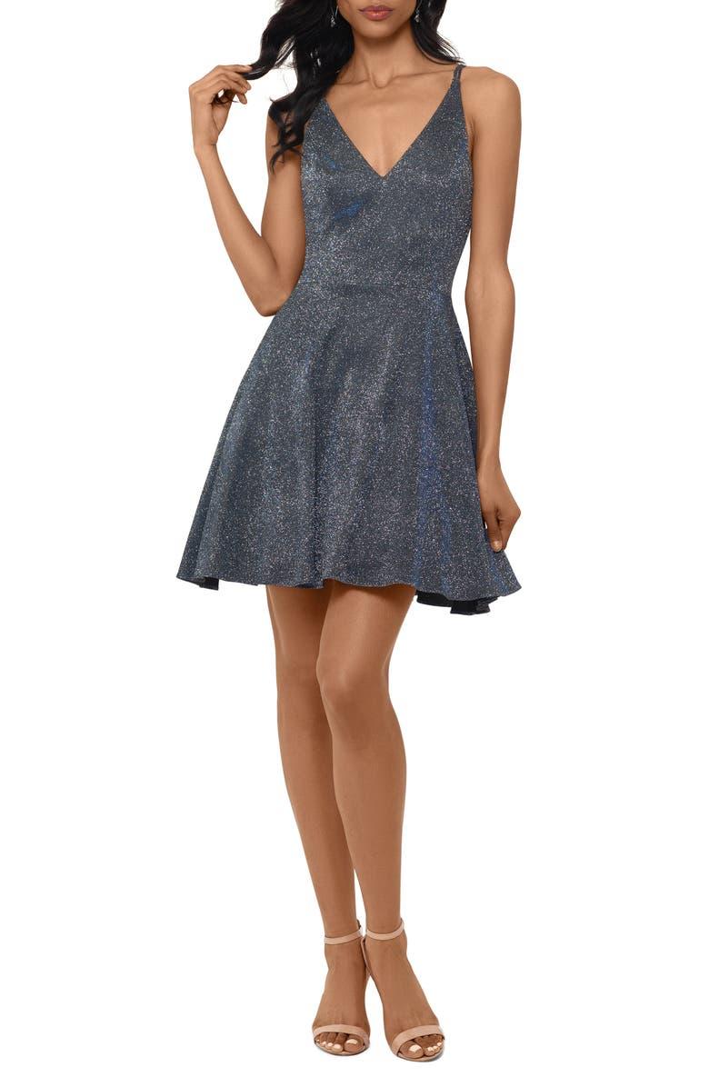 XSCAPE Metallic V-Neck Party Dress, Main, color, BLACK/ ROYAL