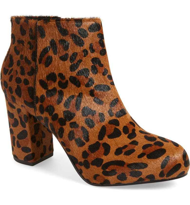 TOPSHOP 'Miles' Genuine Calf Hair Leopard Print Bootie, Main, color, 200