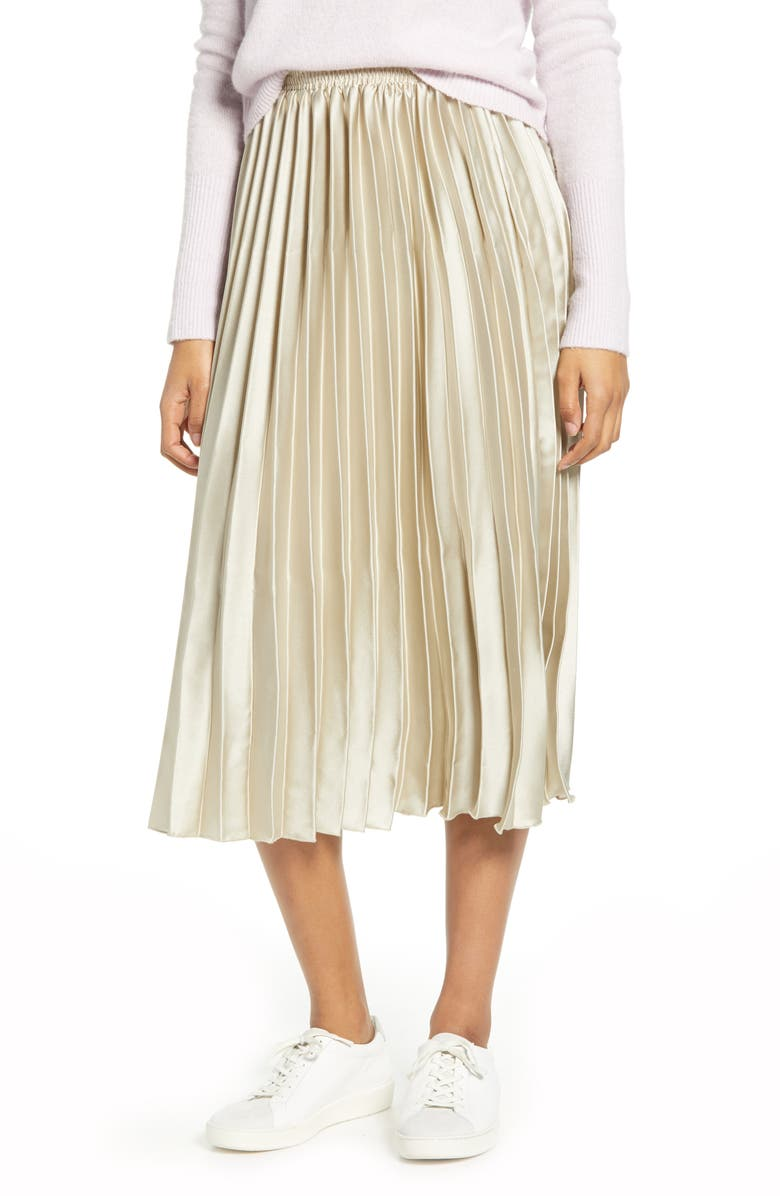 LUCKY BRAND Brooklyn Pleated Satin Skirt, Main, color, CHAMPAGNE