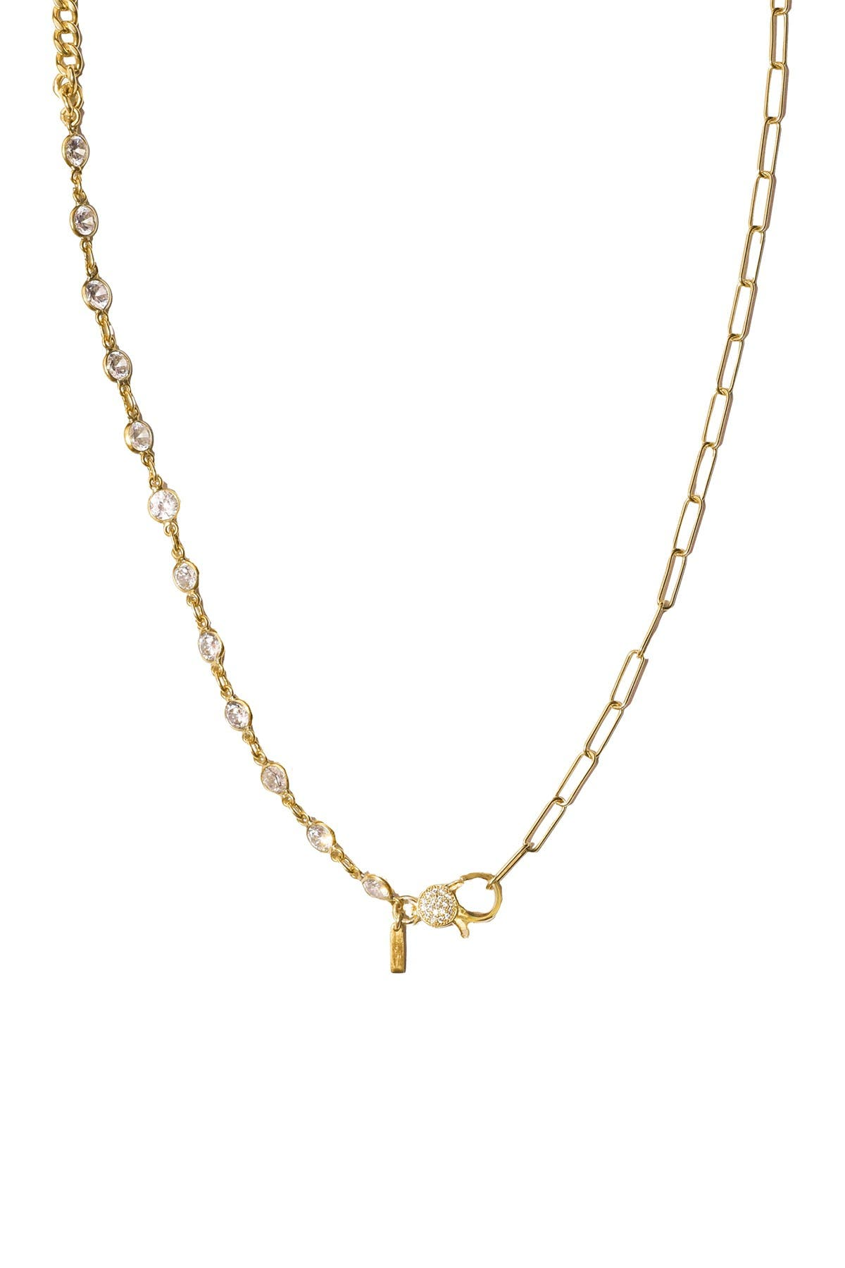Image of ADORNIA 14K Yellow Gold Vermeil Patchwork Lock Mosaic Necklace