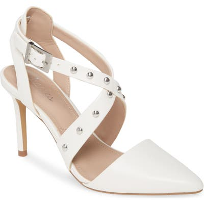 Charles By Charles David Vladimir Studded Pointed Toe Pump- White