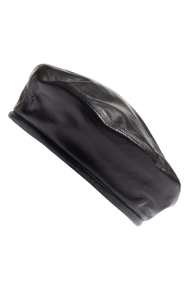 ERIC JAVITS Lambskin Leather Beret, Main, color, 001