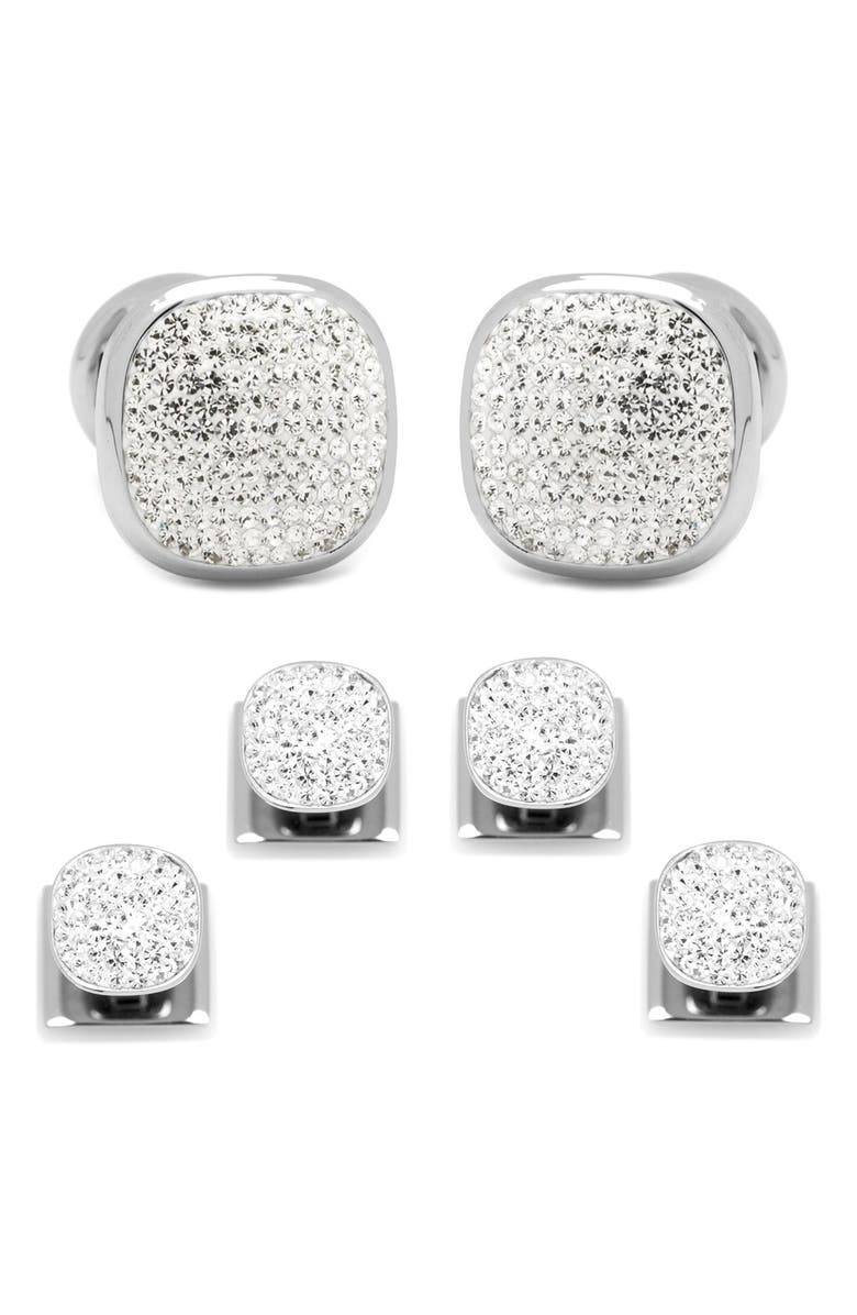 CUFFLINKS, INC. White Pave Crystal Shirt Studs & Cuff Links, Main, color, 100