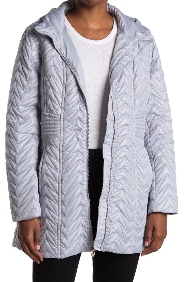 VIA SPIGA Zigzag Detachable Hooded Puffer Jacket, Main, color, MOONSTONE